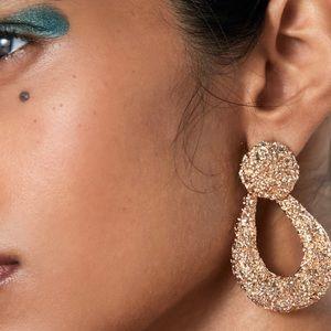 Zara Gold Drop Textured Earrings Butterfly Closure